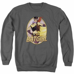 Justice League adult crewneck sweatshirt Batgirl Bombshell charcoal