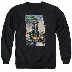 Justice League adult crewneck sweatshirt Green Arrow Fire And Rain black