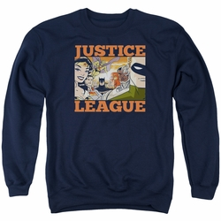 Justice League adult crewneck sweatshirt New Dawn Group navy