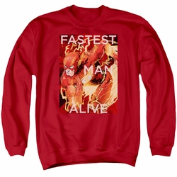 Justice League adult crewneck sweatshirt The Flash Fastest Man Alive red