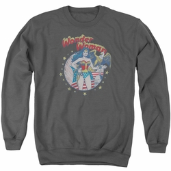 Justice League adult crewneck sweatshirt Wonder Woman At Your Service charcoal