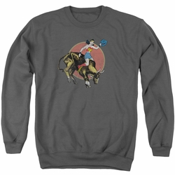 Justice League adult crewneck sweatshirt Wonder Woman Bull Rider charcoal