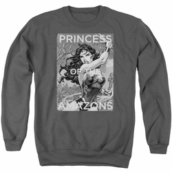 Justice League adult crewneck sweatshirt Wonder Woman Princess Of The Amazons charcoal