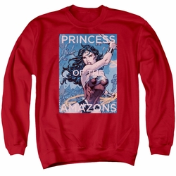 Justice League adult crewneck sweatshirt Wonder Woman Princess Of The Amazons red