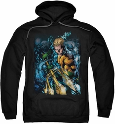 Justice League JLA pull-over hoodie Aquaman #1 adult black