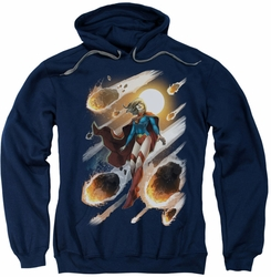 Justice League JLA pull-over hoodie Supergirl #1 adult navy