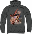 Justice League JLA pull-over hoodie Teen Titans #1 adult charcoal
