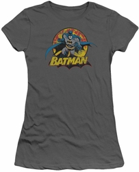 Justice League juniors t-shirt Batman Rough Distress charcoal