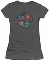 Justice League juniors t-shirt Four Heroes charcoal