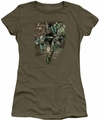 Justice League juniors t-shirt Spacing Out military green