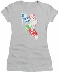 Justice League juniors t-shirt Splatter Icons silver