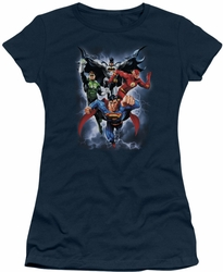 Justice League juniors t-shirt The Coming Storm navy