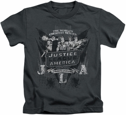 Justice League kids t-shirt Greatest Heroes charcoal