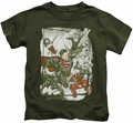 Justice League kids t-shirt Green And Red military green