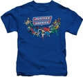 Justice League kids t-shirt Here They Come royal