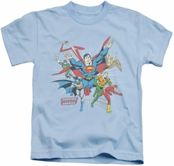 Justice League kids t-shirt Lead The Charge light blue