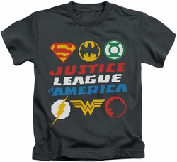 Justice League kids t-shirt Pixel Logos charcoal