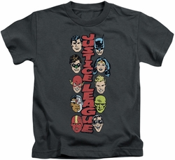 Justice League kids t-shirt Stacked Justice charcoal