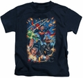 Justice League kids t-shirt Under Attack navy