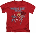 Justice League kids t-shirt Worlds Best red