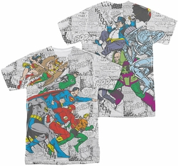Justice League mens full sublimation t-shirt Face Off