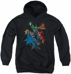 Justice League of America youth teen hoodie Action Stars black