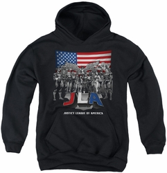 Justice League of America youth teen hoodie All American League black