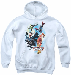 Justice League of America youth teen hoodie At Your Service white