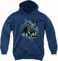 Justice League of America youth teen hoodie Batman Collage navy