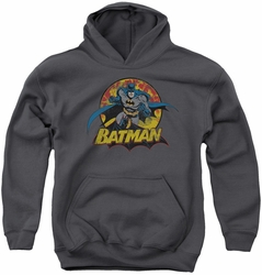 Justice League of America youth teen hoodie Batman Rough Distress charcoal
