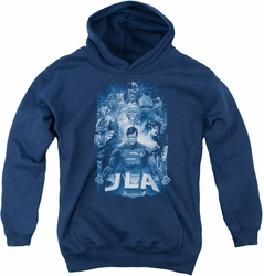 Justice League of America youth teen hoodie Burst navy