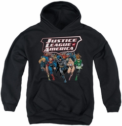 Justice League of America youth teen hoodie Charging Justice black