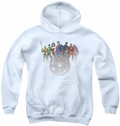 Justice League of America youth teen hoodie Circle Crest white