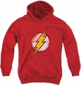 Justice League of America youth teen hoodie Destroyed Flash Logo red