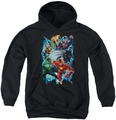 Justice League of America youth teen hoodie Electric Team black