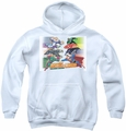 Justice League of America youth teen hoodie Evildoers Beware white