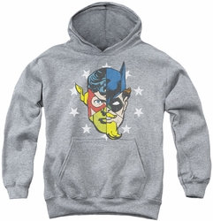 Justice League of America youth teen hoodie Face Off athletic heather