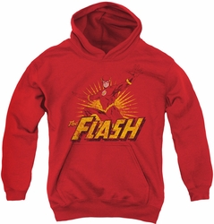 Justice League of America youth teen hoodie Flash Rough Distress red