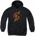 Justice League of America youth teen hoodie Flash Symbol Knockout black