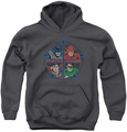 Justice League of America youth teen hoodie Four Heroes charcoal