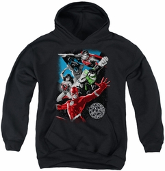 Justice League of America youth teen hoodie Galactic Attack black