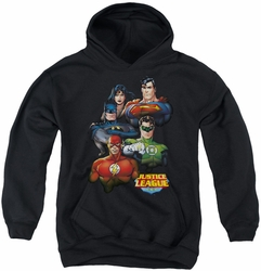 Justice League of America youth teen hoodie Group Portrait black