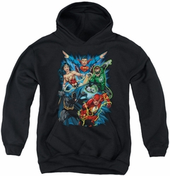 Justice League of America youth teen hoodie Jl Assemble black