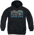 Justice League of America youth teen hoodie League Lineup black
