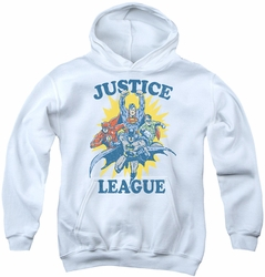 Justice League of America youth teen hoodie Let's Do This white