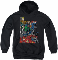 Justice League of America youth teen hoodie Lettered League black