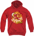 Justice League of America youth teen hoodie Lightning Fast red