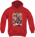 Justice League of America youth teen hoodie Lost red