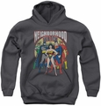 Justice League of America youth teen hoodie Neighborhood Watch charcoal