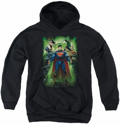 Justice League of America youth teen hoodie Power Burst black